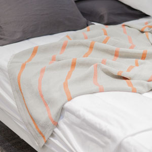DESIGNERS GUILD STRIPE LINEN SUMMER BLANKET (Orange) 스트라이프 린넨 여름 홑이불 (오렌지)