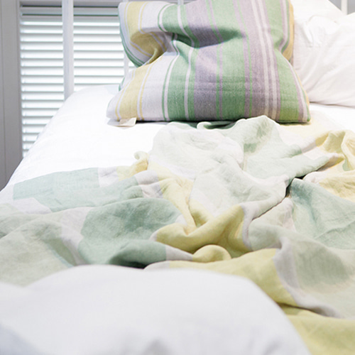 DESIGNERS GUILD STRIPE LINEN SUMMER BLANKET (Lime) 스트라이프 린넨 여름 홑이불 (라임)